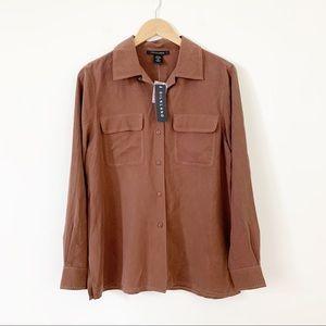 Silkland 100% Silk Button Front Blouse long Sleeve